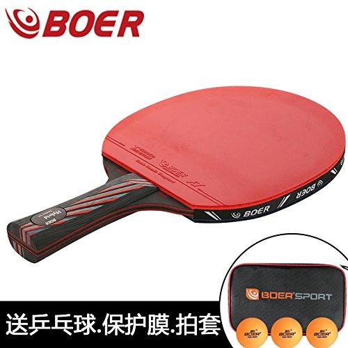 ブラックカーボンファイバー9.8プロフェッショナルTable Tennis Paddle中国Championのテーブルテニスラケット  Long B06XVW4YWW