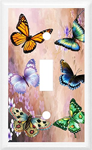 bb BEAUTIFUL BUTTERFLY FLORAL HOME DECOR LIGHT SWITCH PLATE COVER OR OUTLET (1x TOGGLE (SINGLE))