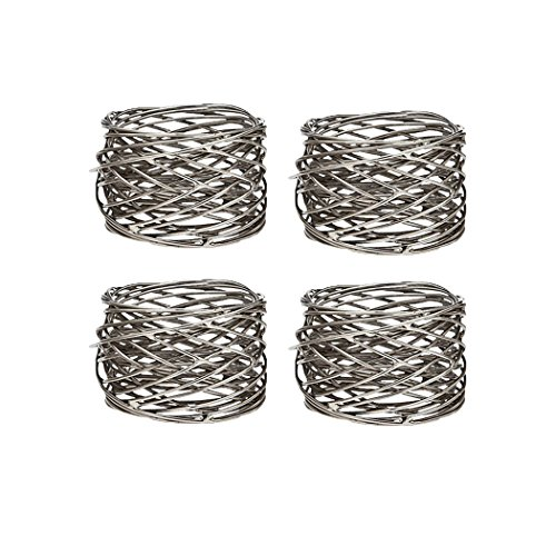 Klikel Mesh Napkin Ring Stainless Steel Set Of 4 (Art Rings Table Napkin)