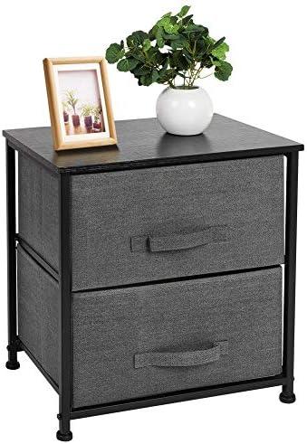 Greensen Nightstand with 2 Drawers Bedside Fabric Drawer Dresser Storage Organizer Unit for Bedroom Living Room Hallway Dorm Office, Foldable Fabric Drawers, MDF Top, Metal Frame, Dark Grey
