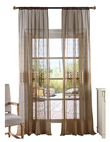 Smibra Nordic Look Sheer Curtain Elegance Clover Embroidery Voile Tulle Rod Pocket Top Panel for Bedroom,Lounge(1 Panel,W50 x L63inch, Brown)-CHUANGSHA0361C1WYCBNX65063-8516