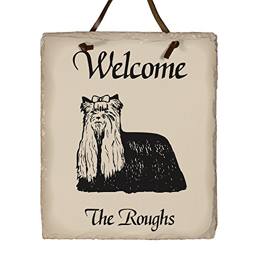 GiftsForYouNow Welcome Dog Breed Personalized Slate Plaque, Yorkshire Terrier (Terrier Welcome Slate)
