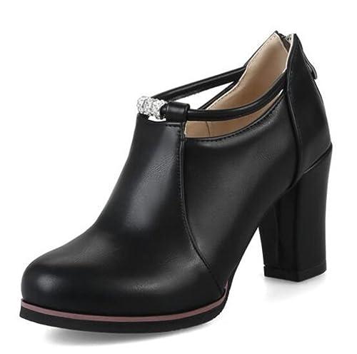 sale retailer 491d3 9d880 Easemax Damen Schick Low Ankle High Heels Blockabsatz Stiefel Pumps