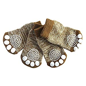 Mable Ruth Pet Dog & Puppy Nonslip Socks - Comfortable Shoes Boots With Rubber Reinforcement - Set of 4 Breathable Soft Traction Knit Socks For Dogs - Comfortable Sock Design for Pet Dogs (X-Large)