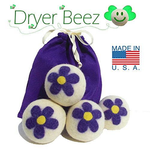 Wool Dryer Balls - Flower Power Design -Handcrafted in the USA - Sets of 3, 4, 5 or 6 - XL - Extra Large - 100% Natural Premium Wool - Organic Replacement for Dryer Sheets, Made in America