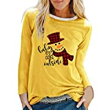 Acilnxm Womens Christmas Printed Blouses Long Sleeve Loose Round Neck Tops T-Shirts Yellow