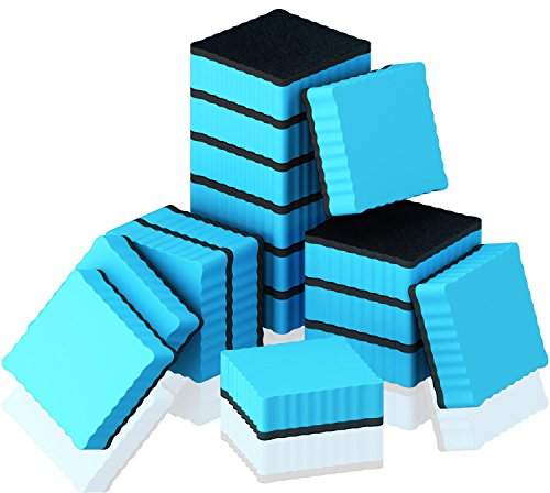 Hibery 16 Pack Magnetic Whiteboard Eraser Dry Erase Board Erasers for Home, School and Office (Blue) - Squares Dry Erase