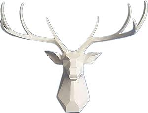YJ Home Deer Head Wall Sculpture - 27.5 inch Geometry Stag Head Wall Decor - 8 Point Buck Deer Head Bust Wall Hanging (XX-L, White Deer D) …