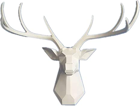 Deer Head Wall Decor Faux Taxidermy Animal Head Wall Art Geometry Deer Head Home Decor 8 Point Buck Deer Head Bust Wall Hanging White 23 3 Wx21 3 H Home Kitchen