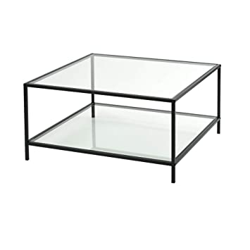 Pleasant Furnish 1 Stylish Glass Top Square Coffee Table With Black Frame Beutiful Home Inspiration Xortanetmahrainfo