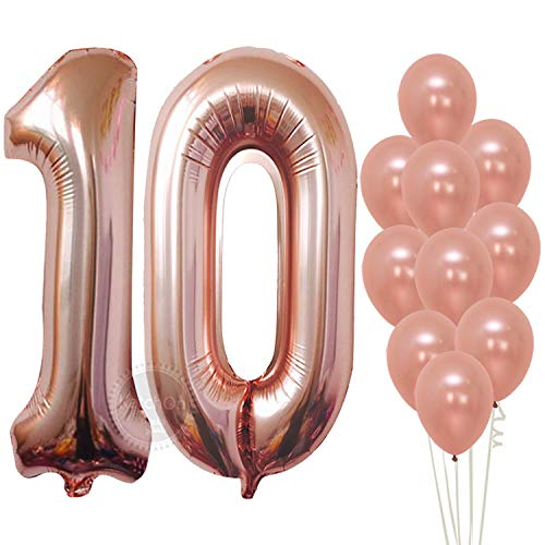 Rose Gold Number Balloons 10 - Large, Pack of 9 | 10th Birthday Rose Gold Number Balloons Decorations Party Supplies | foil Mylar and Latex Balloon | Great for 10 Year Old Décor, Anniversary, Wedding