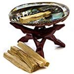 "Premium Abalone Shell with Wooden Tripod Stand and 6 Palo Santo Sticks. Alternative Imagination Brand. (5"" - 6"" Abalone Shell)"