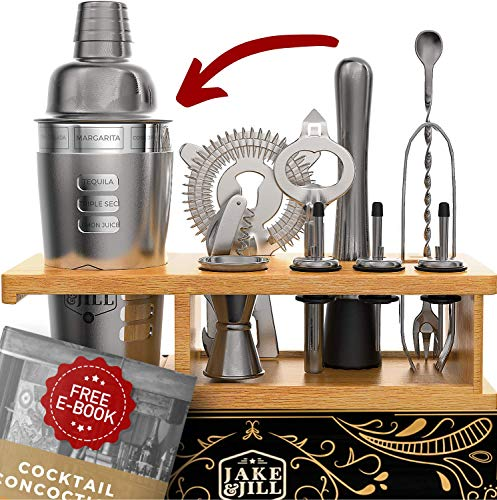 (JJ Beginner Bartender Kit Engraved - 12-Piece Cocktail Shaker Set for Home Mixology: Stunning Bamboo Stand, and Exclusive Recipes Bonus)