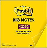 Post-it Super Sticky Big Notes, 11 x 11 Inches, 30 Sheets/Pad, 1 Pad (BN11), Large Bright Yellow Paper, Super Sticking Power, Sticks and Resticks