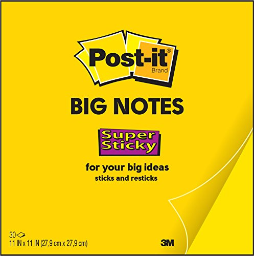 Post-It Super Sticky Big Note, 11 in. x 11 in., Yellow (BN11)