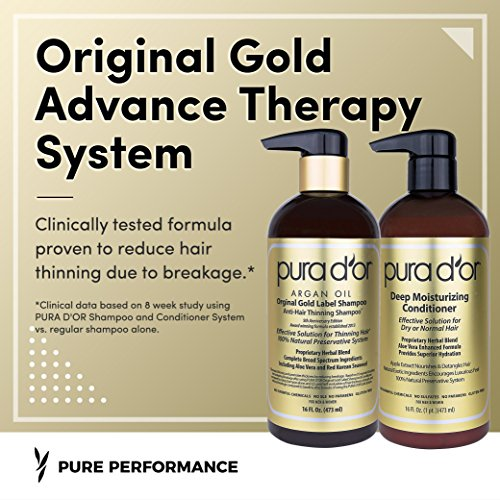 PURA D'OR Original Gold Label Anti-Thinning Shampoo & Deep Moisturizing Conditioner Set, Clinically Tested, Rich in Natural Ingredients, All Hair Types, Men & Women, 16 fl oz (Packaging may vary) by PURA D'OR (Image #2)