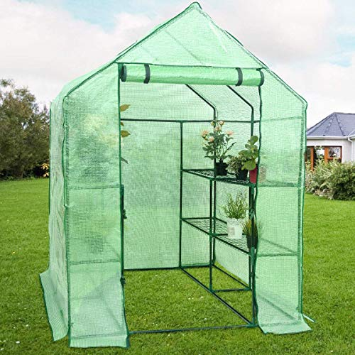 YOUKE Walk-in Greenhouse PE Cloth Cover Garden House Succulent Plants Flowers Green Plant Insulation Family (56''x56''x77'') by YOUKE (Image #6)