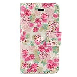 SUMCOM Pink Flowers Pattern PU Full Body Case with Card Slot and Stand for iPhone 4/4S