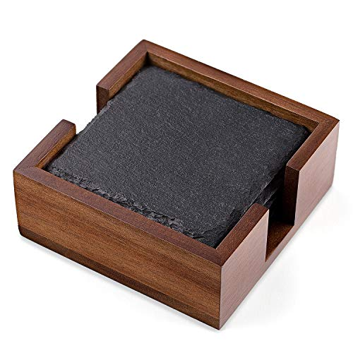 Slate Stone Rustic Beverage Drink Table Coasters Set with Acacia Wood Holder - Square, 4 Coasters