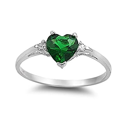 90f8754c99ce3 Amazon.com: Heart Promise Ring Simulated Emerald Round Cubic ...