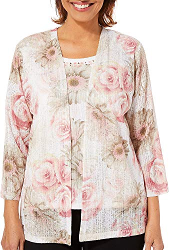Alfred Dunner Women's Society Page Floral Two for One Top (Large) Dusty Rose