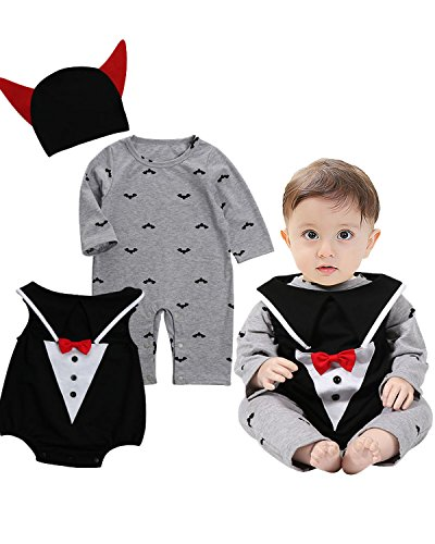 Kidsform Baby Boys 2 Pcs Halloween Party Cosplay Bat Costume Hooded Romper Bodysuits Outfits Style 3 85/12-18M - Baby Bat Halloween Costumes
