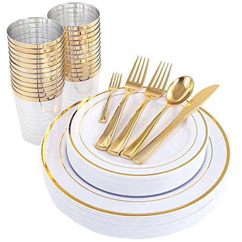 WDF 25Guest Gold Plastic Plates with Gold Silverware,Disposable Cups-include 25 Dinner Plates, 25 Salad Plates, 50 Forks, 25 Knives, 25 Spoons &Plastic Cups/Bonus 25 Mini Forks (Dinnerware) ()