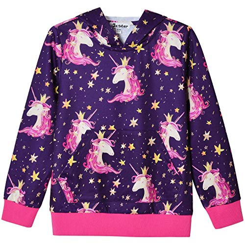 Star Unicorn Hoodie for Girls Sweatshirt 3D Pullover Hooded Clothes Size 8 ()