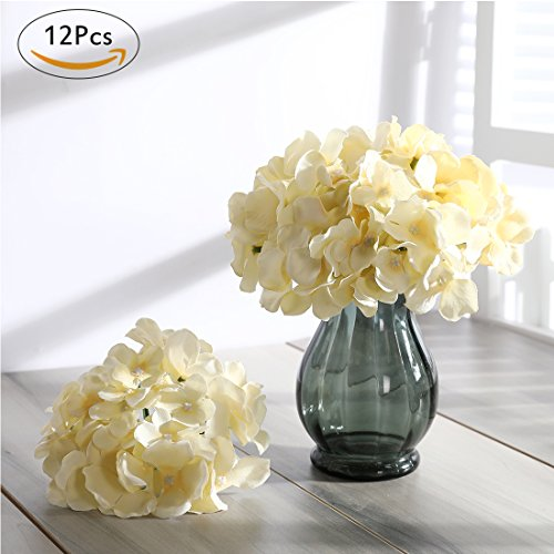Veryhome Blooming Silk Hydrangea Flower Heads for DIY Bouquets Wedding Centerpieces Home Decor cream white 12pcs