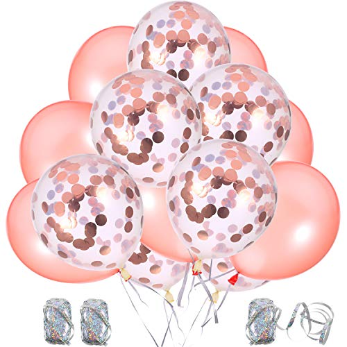 50 Pieces Rose Gold Series Balloons Decorations with 3 Rolls Ribbons, 12 Inch Pre-Filled Rose Gold Confetti/ Latex Party Balloons
