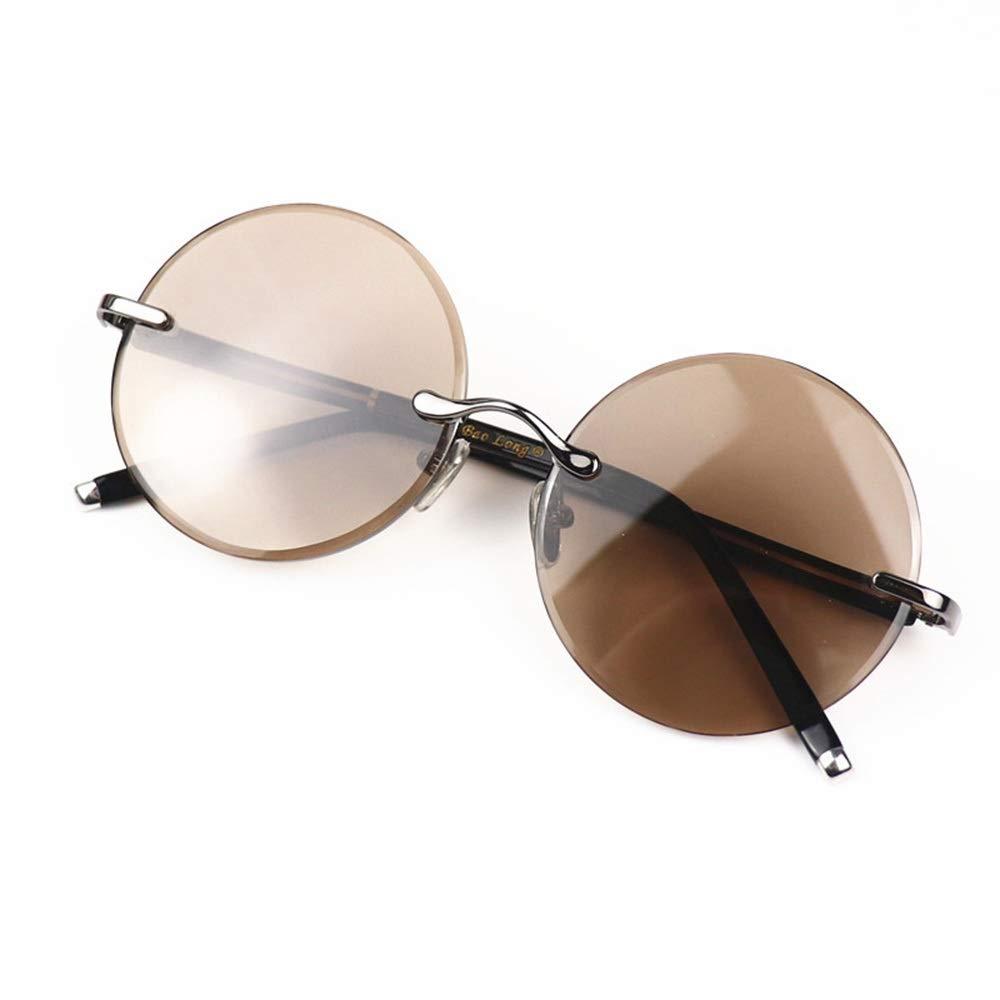サングラス ラウンドレトロカットフレームレスサングラス、ナチュラルクリスタルレンズ54MM、ユニセックス。, ファッションサングラス  Sunglasses B07RLXG3GS