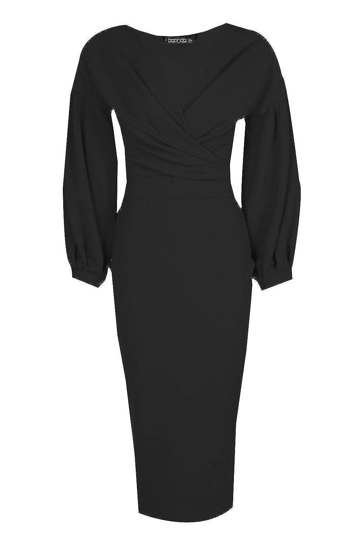 9b140993e20 Noir Femmes robe moulante midi cache-cœur à épaules dénudées Tall Mabel -  8  Amazon.fr  Vêtements et accessoires