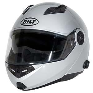 BILT Techno Bluetooth Modular Motorcycle Helmet - XS, Silver