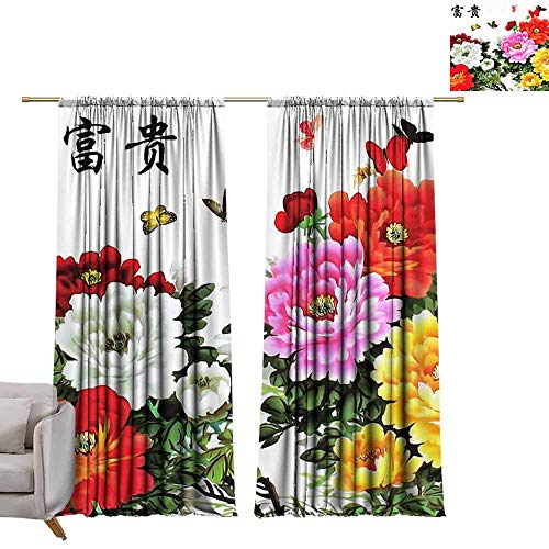 (berrly Tie Up Shades Rod Blackout Curtains Abstract Elegance Seamless Pattern with Floral Background W72 x L96 Adjustable Tie Up Shade Rod Pocket Curtain)