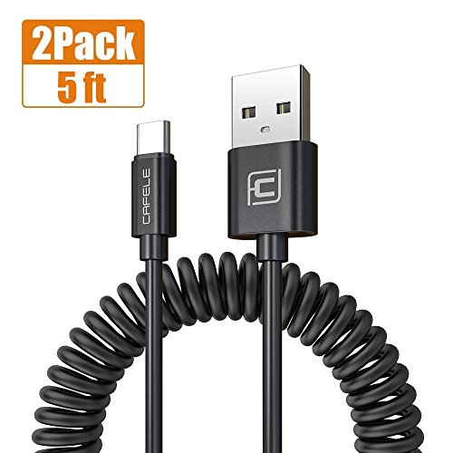 Coiled USB C Cable for Car, CAFELE 2 Pack Retractable Type C Charging Cable Curly USB A to USB C Charger for Samsung Galaxy Note 8 S8 Plus LG G5/G6/V20 - (Black/5ft)