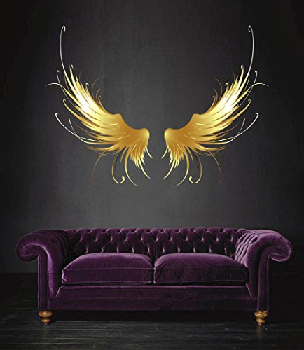 StickersForLife cik510 Full Color Wall Decal Golden Angel Wings Children's Bedroom Living Room
