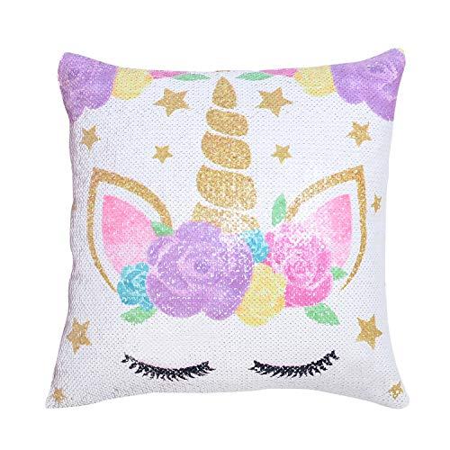 My Greca Unicorn Pillow Cases for Girls - Mermaid Reversible Sequin Soft & Glitter Throw Pillow Cover for Kids
