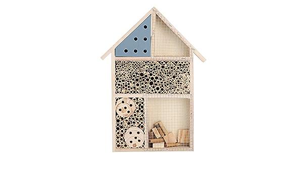 HANGING WOODEN NESTING BOX INSECT BEE HOUSE HOTEL GARDEN BIRD CARE OUTDOOR HABIT