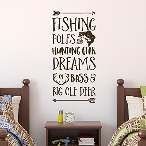 FISHING POLES AND HUNTING GEAR NURSERY VINYL WALL DECAL LAKE CABIN LETTERING
