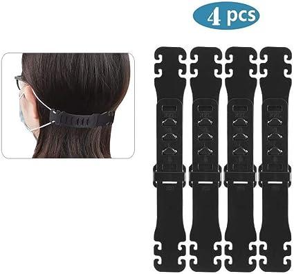 Black 10 PCS Ear Strap Extender Adjustable Anti-Tightening Ear Protector Decompression Holder Hook Mask Fixing Buckle Ear Strap Extension Rope Adjustment Hooks