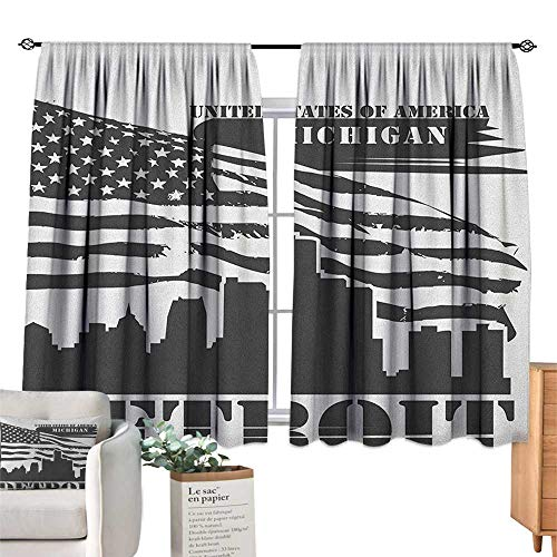(PriceTextile Detroit,Valance Curtains Monochrome Grunge City Silhouette American Flag United States Michigan Window Drapes for Bedroom W72 x G63)