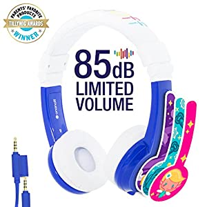 Explore Foldable Volume Limiting Kids Headphones – Durable, Comfortable & Customizable – Built in Headphone Splitter and In Line Mic – For iPad, Kindle, Computers and Tablets – Blue