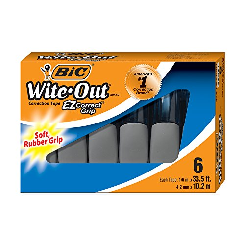 BIC Wite-Out Brand EZ Correct Grip Correction Tape, White, 6-Count