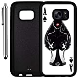 Custom Case Compatible with Galaxy S7 (Cool Ace of Spades Art) Edge-to-Edge Rubber Black Cover Ultra Slim | Lightweight | Includes Stylus Pen by Innosub