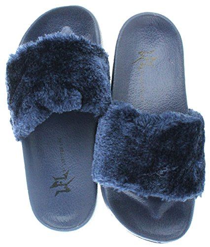 Lust For Life LFL by Women's Pool Slide Sandals Blue Size - Lfl Shop