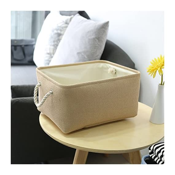 TheWarmHome Decorative Basket Rectangular Fabric Storage Bin Organizer Basket with Handles for Clothes Storage -  - living-room-decor, living-room, baskets-storage - 51%2BsDDtiAVL. SS570  -