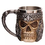 Stainless Steel Viking Skull Mugs Skeleton Beer Mug Skull Coffee Mug Resin
