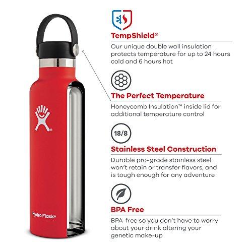 Hydro Flask 21 oz Double Wall Vacuum Insulated Stainless Steel Sports Water Bottle, Standard Mouth with BPA Free Sport…