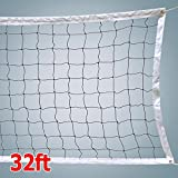 Topeakmart Beach Volleyball Net Official Size 32 x 3 Ft for Swimming Pool Backyard Sport & Fun, Poles Not Included Black & White