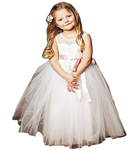 Beautyfudre Girls' Pageant Gown Lace Princess Tulle Weddi...